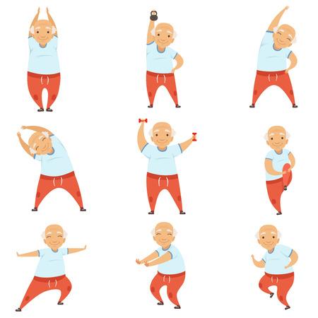 Senior man ochtend oefeningen, actieve en gezonde levensstijl van gepensioneerden vector illustratie op een witte achtergrond