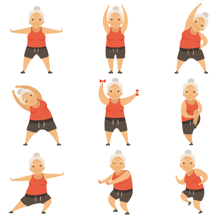 Senior woman doing morning exercises, active and healthy lifestyle of retired people vector Illustration on a white background Standard-Bild - 101618881
