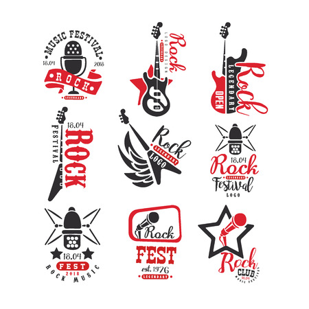 Rock club vintage style  set, label for rock music fest vector Illustrations on a white background