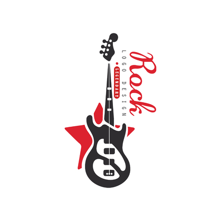 Rock design, emblem for Rock band or festival with electric guitar vector Illustration on a white background
