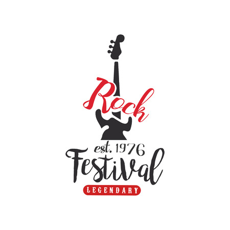 Rock festival  est. 1976, design element with electric guitar can be used for poster, banner, flyer, print or stamp vector Illustration on a white background Illustration