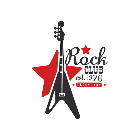 Rock club  legendary est. 1976, design element with electric guitar can be used for poster, banner, flyer, print or stamp vector Illustration on a white background