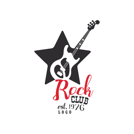 Rock club est. 1976, design element with guitar can be used for poster, banner, flyer, print or stamp vector Illustration on a white background