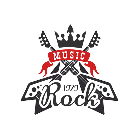 Rock music est. 1979   design element with with electric guitars and crown can be used for poster, banner, flyer, print or stamp vector Illustration on a white background Illustration