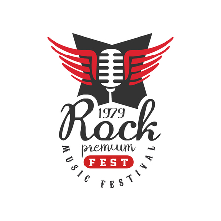 Rock premium fest, music festival  est. 1979, design element can be used for poster, banner, flyer, print or stamp vector Illustration on a white background Illustration