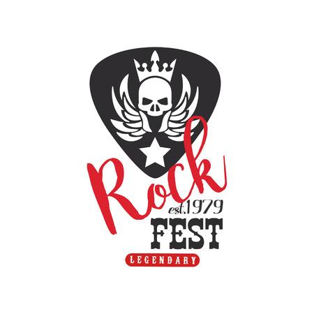 Rock fest legendary   est. 1979, emblem for Rock festival, guitar party or musical performance vector Illustration on a white background
