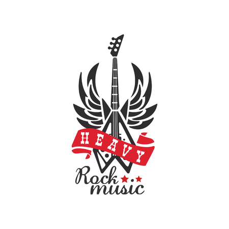 Heavy Rock music   emblem for rock band, festival, guitar party or musical performance vector Illustration on a white background Illustration