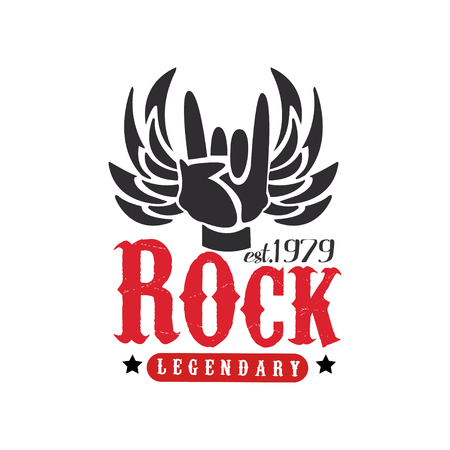 Rock legendary est. 1979 design element with Rock and Roll hand gesture and wings can be used for poster, banner, flyer, print or stamp vector Illustration on a white background