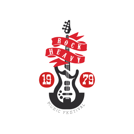 Heavy Rock music festival est. 1979 design element with electric guitar can be used for poster, banner, flyer, print or stamp vector Illustration on a white background