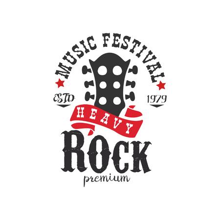 Heavy Rock music festival est. 1979   design element can be used for poster, banner, flyer, print or stamp vector Illustration on a white background Illustration