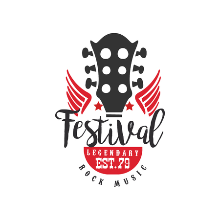 Rock music festival, legendary est. 1979  design element can be used for poster, banner, flyer, print or stamp vector Illustration on a white background