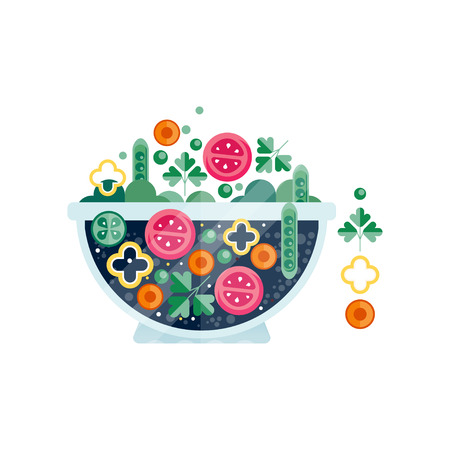 Glass bowl of tasty salad from tomatoes, peppers, green peas, parsley and carrots. Healthy food. Abstract flat vector icon with texture