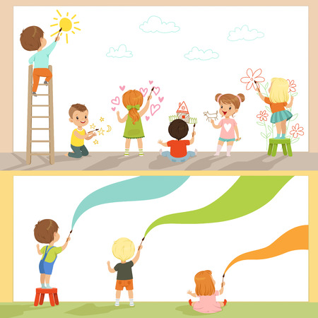 Cute little kids painting with color paints and brush on the wall set, back view vector Illustrations on a white background Illustration