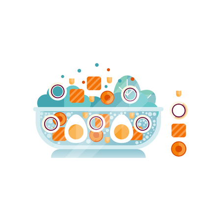 Big glass bowl of delicious salad from boiled eggs, salmon pieces, carrots and rings of onion. Abstract flat vector icon with texture