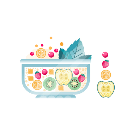 Fresh fruit salad in glass bowl. Sweet dish from ripe apple, strawberry, kiwi, cranberry and mint leaves. Vegetarian nutrition. Flat vector design with texture