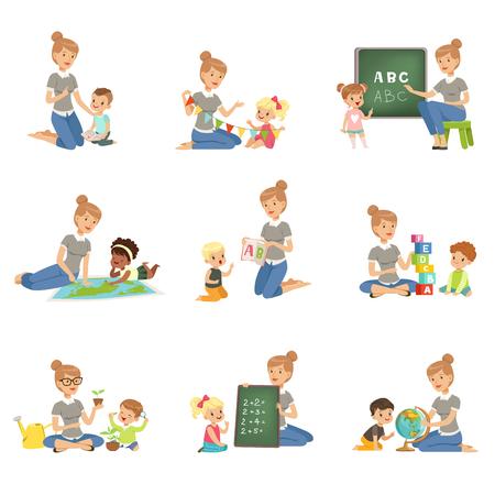 Simpatici ragazzini e ragazze che giocano e studiano insieme, i bambini studiano l'alfabeto, la geografia, la biologia, la matematica nella scuola materna, le illustrazioni di vettore di concetto di educazione della scuola materna pre Vettoriali