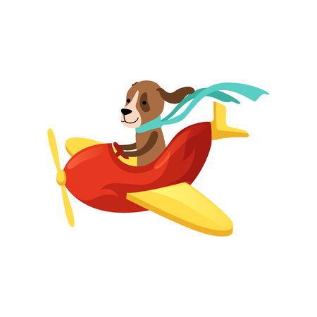 Colorful illustration of dog flying on red airplane with yellow wings and propeller. Cartoon character of domestic animal with scarf on neck. Flat vector design for postcard or children room decor.