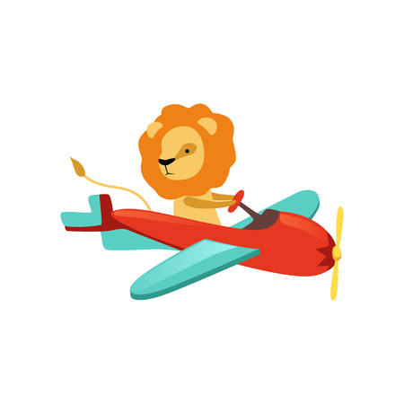 African lion with furry mane flying on little airplane. Cartoon character of funny aircraft pilot. Flat vector for kids t-shirt print, sticker or room decor