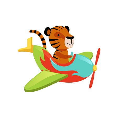 Funny tiger flying on multi-colored airplane. Cartoon orange wild animal with black stripes. Flat vector design for greeting card, children book or sticker Ilustração