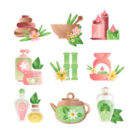 Spa-Behandlungssymbole gesetzt, Basaltsteine, aromatische Öle, Lotionen, Kerzenvektorillustrationen auf einem weißen Hintergrund Vektorgrafik