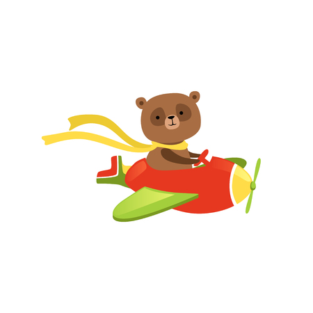 Cute brown bear flying on red plane. Funny aircraft pilot with scarf on neck. Flat vector design for children t-shirt print, poster or postcard