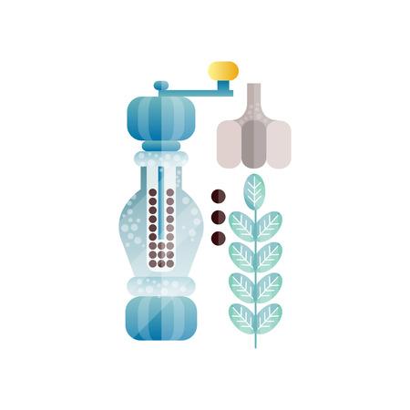 Gewürzmühle der Pfeffermühle, ganze schwarze Pfefferkörner und Knoblauch, Zutat des kulinarischen Gewürzes, Element für Restaurant- oder Küchenmenü-Entwurfsvektorillustration auf einem weißen Hintergrund Vektorgrafik