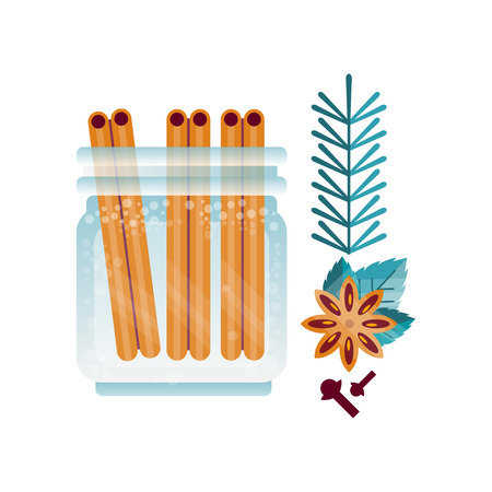Glass jar of cinnamon spice, anise and cloves, ingredient of culinary condiment, element for restaurant or kitchen menu design vector Illustration on a white background