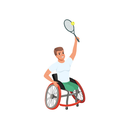 Sportsman with physical disabilities playing tennis. Young cheerful man without legs sitting in wheelchair. Flat vector design 矢量图像