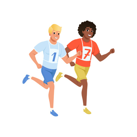 Two guys running marathon. Young men in sportswear with number on chest. Active and healthy lifestyle. Flat vector design Illustration