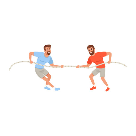 Young men pulling rope. Bearded guys in sportswear. Active people. Competition concept. Flat vector design