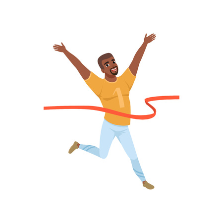 Happy Afro-American man crossing red finish tape. Marathon runner. Flat vector design Illustration