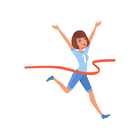 Happy woman crossing red finish tape. Young athletic girl taking part in running competition. Flat vector design Standard-Bild - 101691830