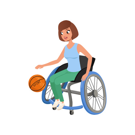Cute athlete woman with physical disabilities playing in basketball. Active lifestyle. Young girl in wheelchair. Flat vector design
