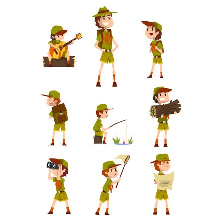 Scouting jongens set, padvinders met wandeluitrusting, zomerkamp activiteiten vector illustraties op een witte achtergrond