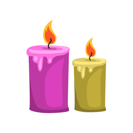 Burning aroma candles. Relaxation, spa procedures and aromatherapy. Cartoon vector element for promo brochure, poster or flyer Ilustração