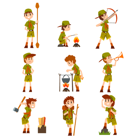 Boy scouts set, boys in scout costumes with hiking equipment, summer camp activities vector Illustrations on a white background Vettoriali