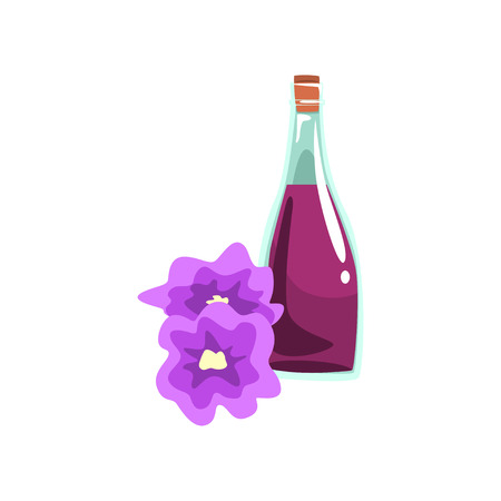 Aromatic oil in glass bottle and beautiful orchid flowers. Liquid for massage. Decorative vector element for promo poster of spa center