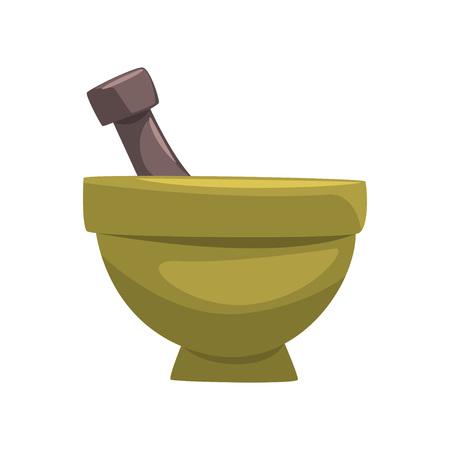 Ceramic mortar and wooden pestle. Item for preparation of mask ingredients. Cartoon vector element for poster or brochure of spa center