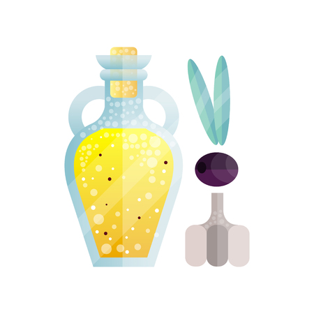 Glass bottle of olive oil and garlic, organic healthy oil product and spice vector Illustration on a white background Çizim