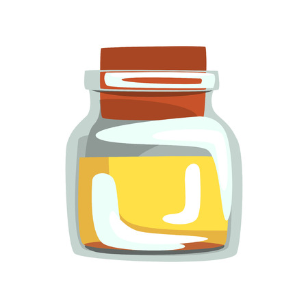 Glass jar with yellow oil for spa and aromatherapy. Ingredient for skin care. Vector for concept about healthcare and wellness.