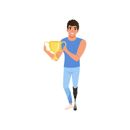 Paralympic athlete with artificial leg holding golden cup. Winner of competition. Active lifestyle. Flat vector design