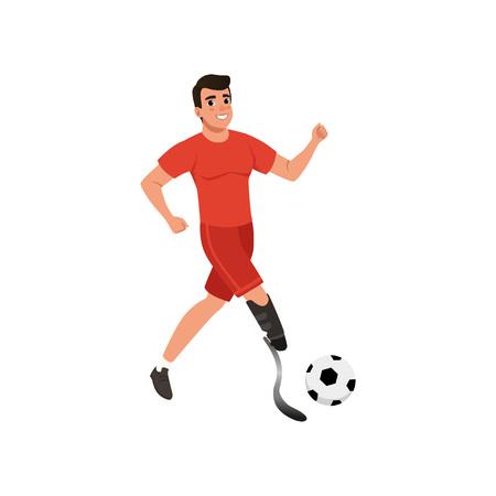 Przystojny młody człowiek ze sztuczną nogą, grając w piłkę nożną. Facet z niepełnosprawnością ruchową. Płaski projekt wektorowy