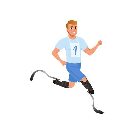 Cheerful man with artificial legs running marathon. Young guy with physical disabilities. Active lifestyle. Flat vector design Stock Illustratie
