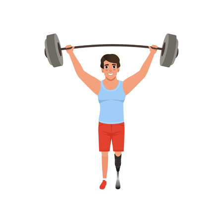 Young man with artificial leg holding barbell over his head. Weightlifting concept. Cross fit or competition sport game. Flat vector design
