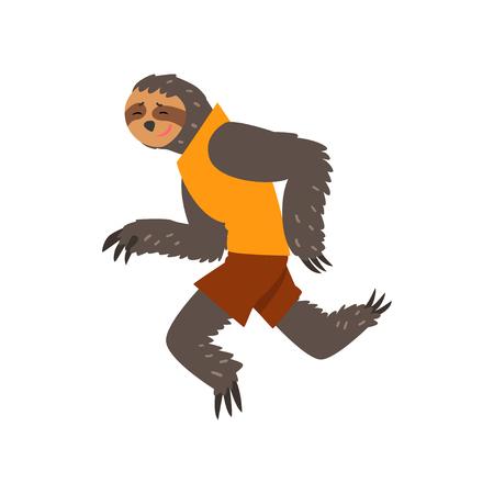 Lemur in sport uniform running, funny sportive wild animal character doing sports vector Illustration on a white background Stock Illustratie