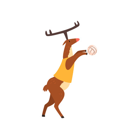 Deer in sport uniform playing volleyball, funny sportive wild animal character doing sports vector Illustration on a white background