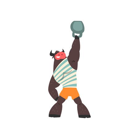 Bull weightlifter lifting kettlebell, funny sportive wild animal character doing sports vector Illustration on a white background