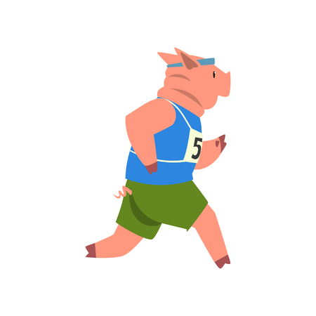 Pig in sport uniform running, funny sportive wild animal character doing sports vector Illustration on a white background