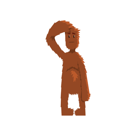 Funny bigfoot looking ahead into the distance, mythical creature cartoon character vector Illustration on a white background