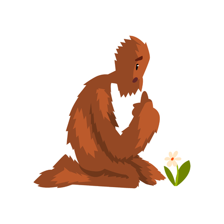 Funny bigfoot sitting on its knees and looking at flower, mythical creature cartoon character vector Illustration on a white background